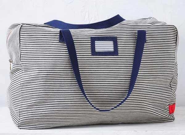 Blue and white storage bag