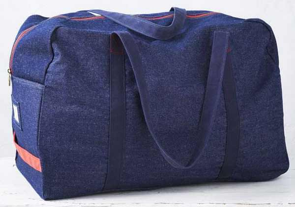 West Elm Storage Bag in blue denim