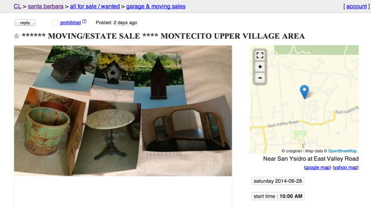 Craig's List Montecito Estate Sale