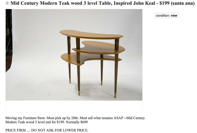 Side Table by John Keal on Craig's List
