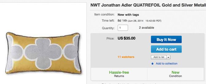 Jonathan Adler pillow on ebay