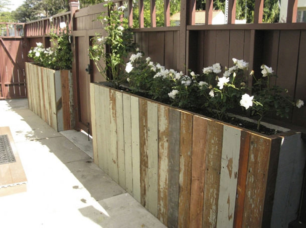 Salvage wood planters