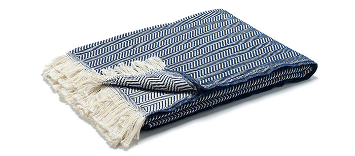 These blankets are made with 100% cotton fibers from a South Carolina farm and loomed in Iowa. $69 from Kaufmann Mercantile.