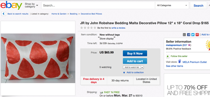 ebay pillow airbnb